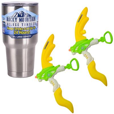 夏日戲水組 60cm弓箭造型水槍2入組(顏色隨機)+冰霸杯組