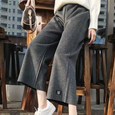 【韓國K.W.】(現貨)棉質舒適寬鬆素面寬褲-1色