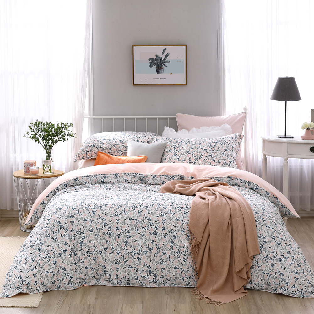 BBL Premium 粉紅微香100%精梳棉印花兩用被床包組(特大)