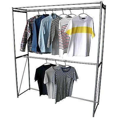 頂堅 寬160公分-鋼管(雙桿)吊衣架/吊衣櫥-附布套9色可選