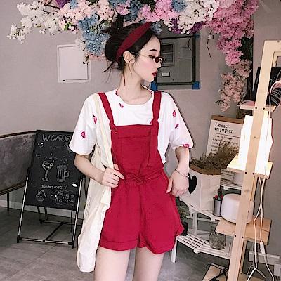 DABI 韓國風俏皮草莓印花短袖百搭減齡吊帶褲連身