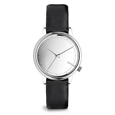 KOMONO Estelle Mirror 腕錶-性格黑x太空銀/36mm
