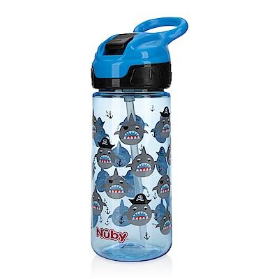 Nuby 晶透運動水杯(鴨嘴)532ml_藍黑鯊魚(18M+)