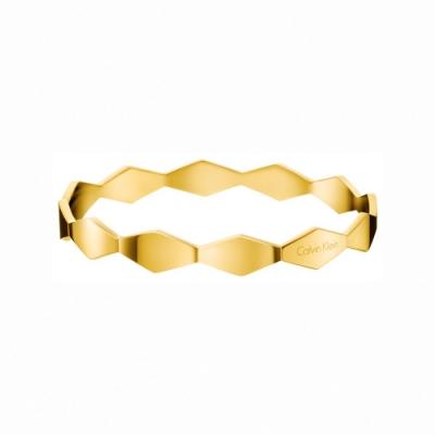 CALVIN KLEIN Snake 系列連綴蛇鱗唯美香檳金色手環-XS