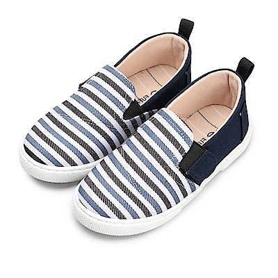 BuyGlasses 就愛條紋控兒童懶人鞋-藍