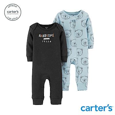 Carter's 小熊印圖2件組連身裝