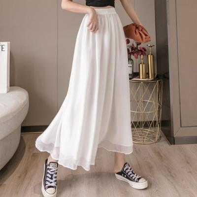 【LANNI 藍尼】現貨 舒適顯瘦假兩件雪紡鬆緊褲裙(褲裙/雪紡)