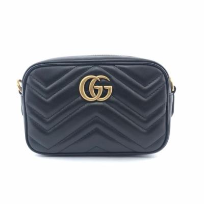 GUCCI GG Marmont Mini 迷你 皮革 山形紋 肩背包 斜背包 相機包 黑色 18公分 448065