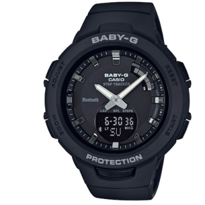 BABY-G-閃耀熱血女孩運動計步藍芽錶(BSA-B100-1)黑/49.6 mm