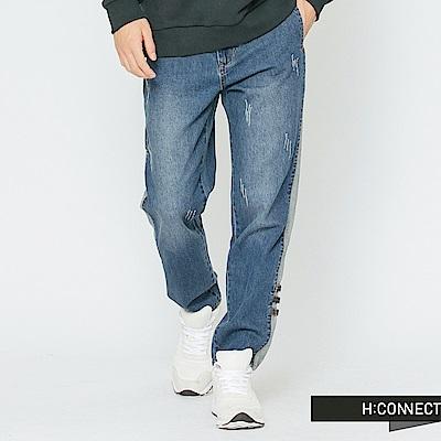 H:CONNECT 韓國品牌 男裝-側邊條微磨破牛仔褲-藍