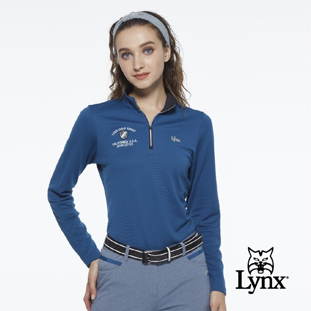 【Lynx Golf】女款細條紋雙面網眼布料山貓立體織標長袖立領POLO衫-土耳其藍色