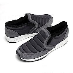 【AIRKOREA韓國空運】 正韓鋪棉拼接內刷毛休閒懶人增高鞋-黑