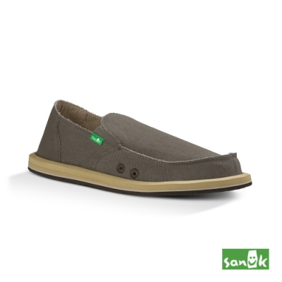 SANUK 男款 US8 經典帆布懶人鞋(咖啡色)