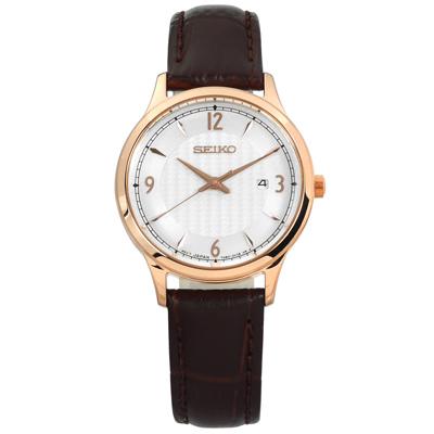 SEIKO 精工 簡約礦石玻璃日期防水牛皮手錶-銀x玫瑰金框x深棕/29mm