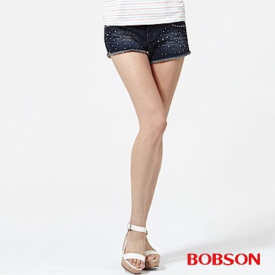 BOBSON 女款超低腰燙貼鑽鋁牛仔短褲