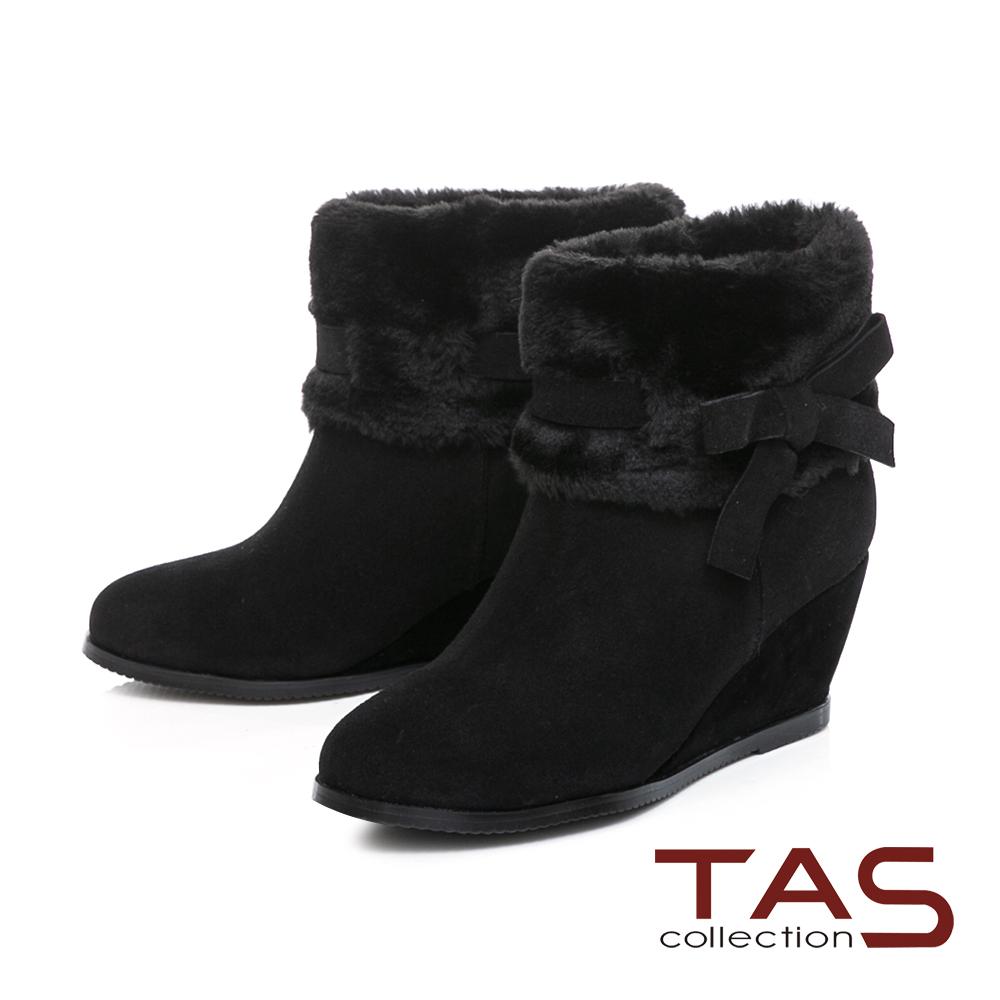 TAS 毛絨反折蝴蝶結繫帶內增高短靴-百搭黑