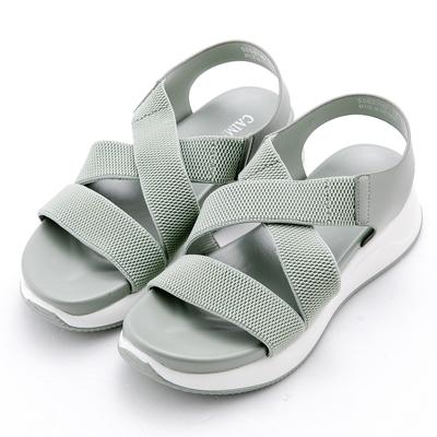 River&Moon大尺碼 韓系交叉彈性繃帶舒壓吸震厚底涼鞋 綠