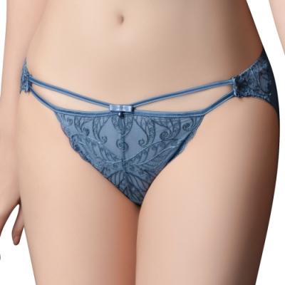 思薇爾 香榭巴黎系列M-XL蕾絲低腰三角內褲(帕石藍)