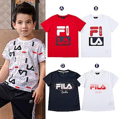 [時時樂] FILA KIDS童裝-運動短袖TEE/吸排上衣/吸排運動褲 (任選)
