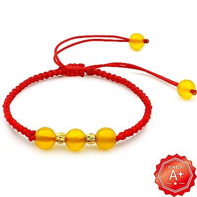 A+ 三生有福-黃水晶 轉運招財紅繩手鍊