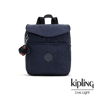 Kipling 文青靛藍紋路翻蓋後背包-TALMA