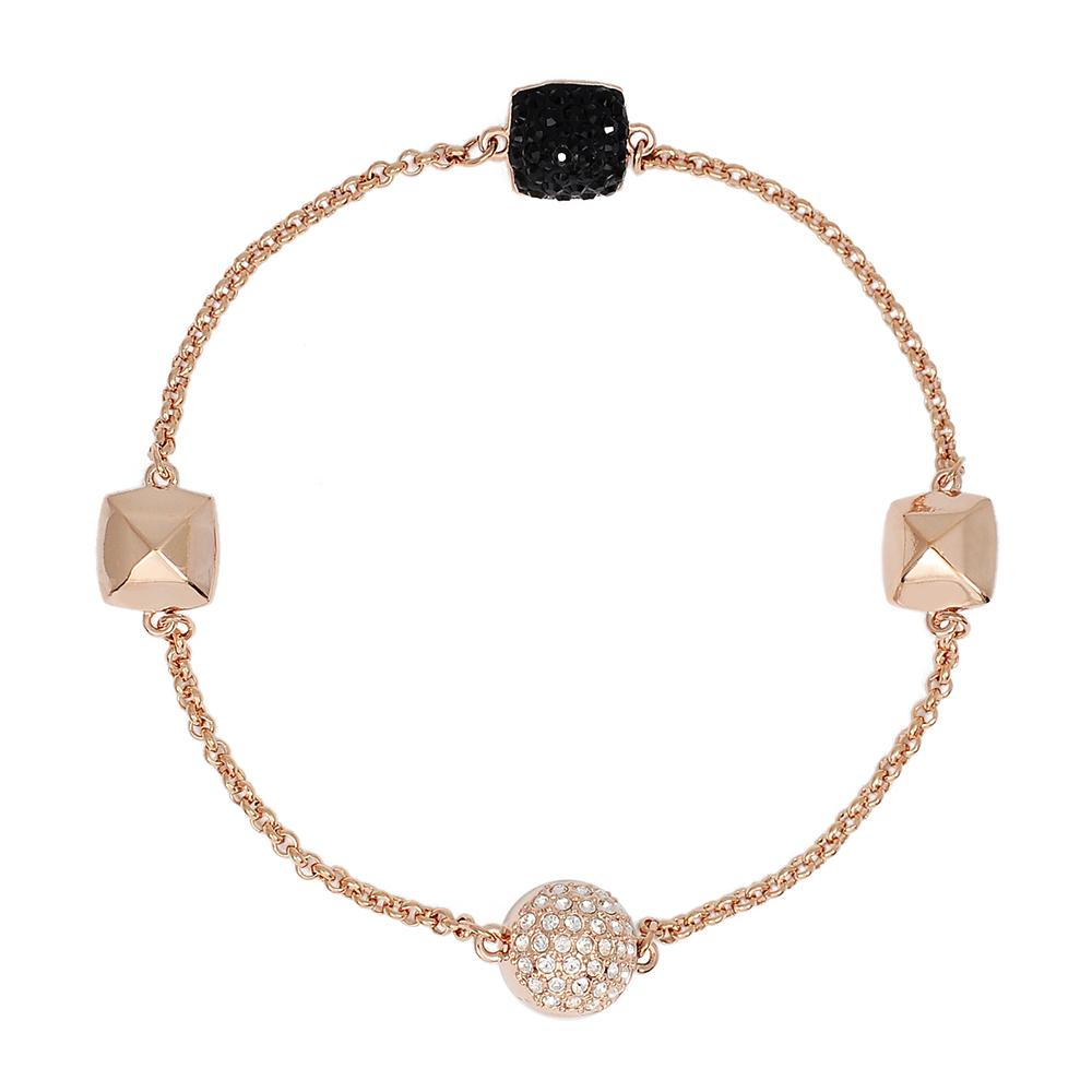 SWAROVSKI 施華洛世奇 Remix方形黑色水晶玫瑰金磁扣式手鍊手環