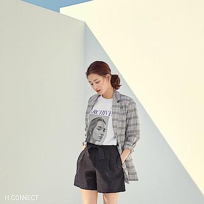 H:CONNECT 韓國品牌 女裝-相片圖印標語T-shirt-白