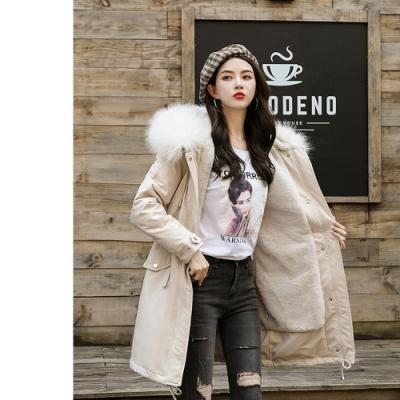 2F韓衣-韓系大毛領排釦造型收腰長版外套