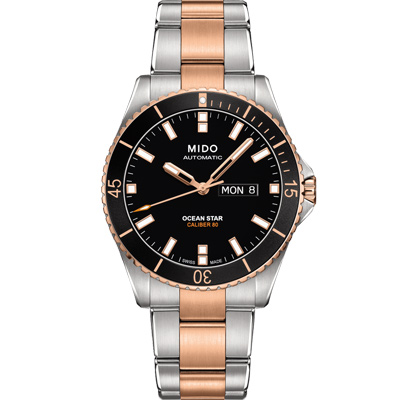 MIDO 美度 海洋之星 80動力 200米潛水機械錶-黑x雙色/42mm