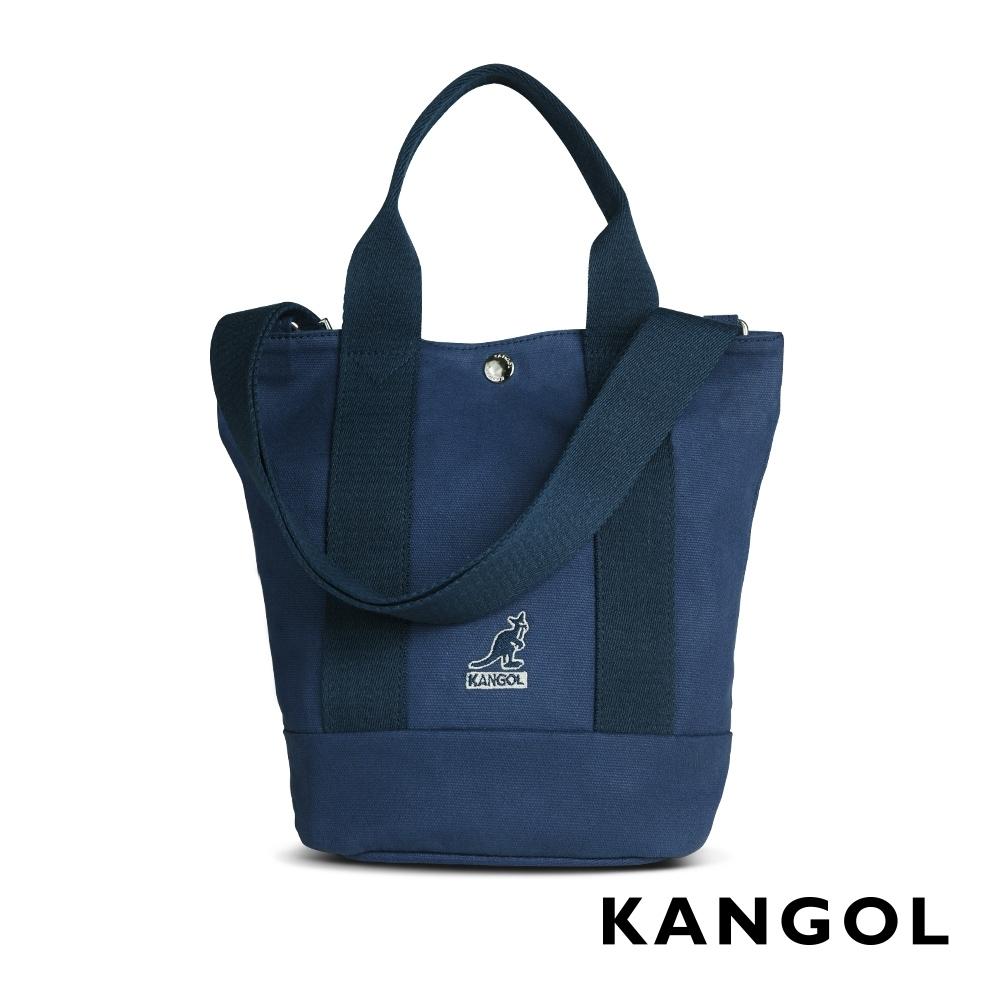 KANGOL 韓版玩色-帆布手提/斜背釦式小型水桶包-深藍 AKG1217