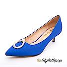 Lilylollipop-Luxury 珍珠環緞面跟鞋--寶藍色