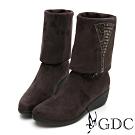 GDC-2WAY秋冬時尚璀璨水鑽優雅飾扣楔型靴-深灰色