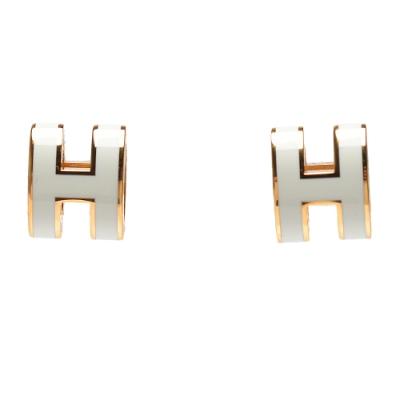 HERMES 經典Pop H立體簍空橢圓LOGO耳環(小_白/金)