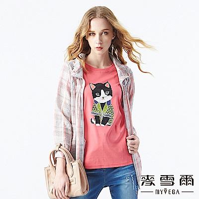 【麥雪爾】優雅粉嫩格紋連帽薄外套