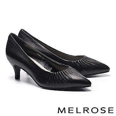 高跟鞋 MELROSE 抓皺造型素面全真皮尖頭高跟鞋-黑