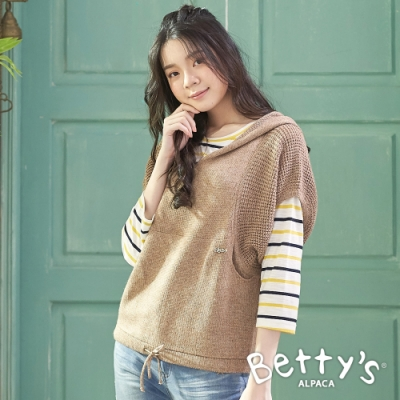 betty's貝蒂思 泡泡袖連帽毛衣(駝色)