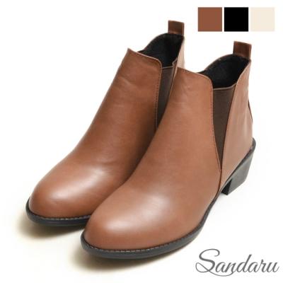 山打努SANDARU-短靴 經典側V字鬆緊尖頭切爾西靴-咖啡