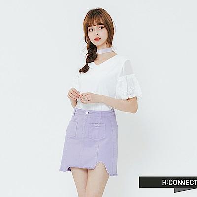 H:CONNECT 韓國品牌 女裝-繡花荷葉袖上衣-白