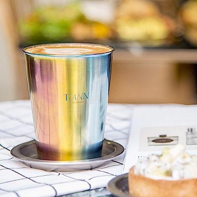 TiANN 純鈦餐具 雙層咖啡杯(極光) 330ml 贈粉色杯蓋
