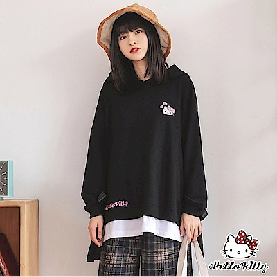 LOVE系列~KITTY刺繡假兩件側邊綁帶連帽上衣-OB大尺碼