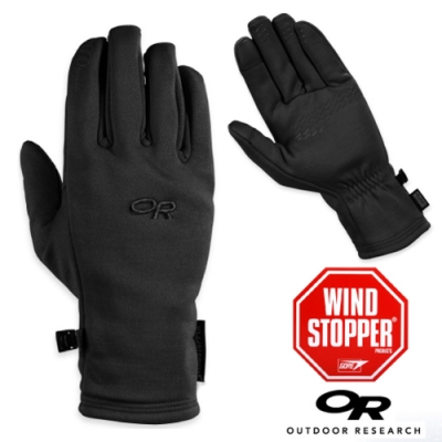 Outdoor Research 男 Backstop Sensor WINDSTOPPER 防風透氣彈性保暖手套_觸控手套_黑