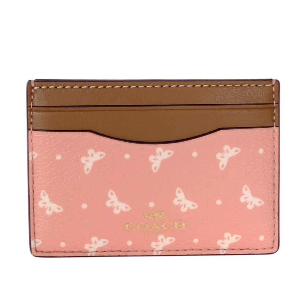COACH粉紅蝴蝶圖騰拼接駝邊真皮雙面名片/票卡夾COACH
