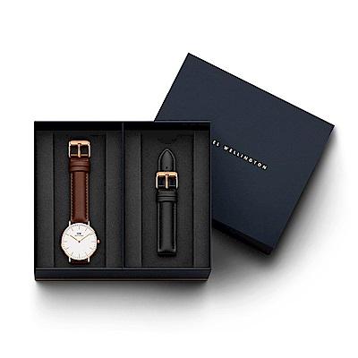 DW手錶 官方旗艦店 36mm淺棕真皮錶+爵士黑真皮錶帶(編號05)