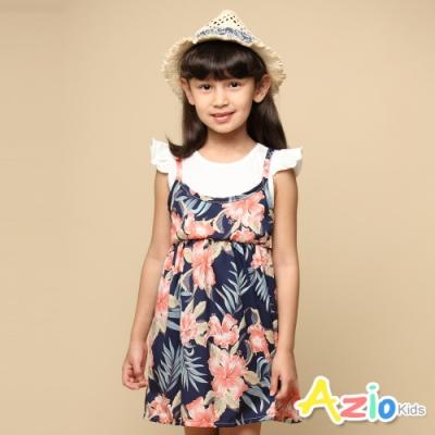 Azio 女童 洋裝 假兩件滿版花草吊帶荷葉袖洋裝(藍)