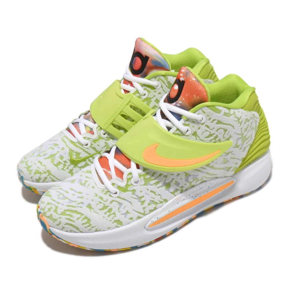 Nike 籃球鞋 KD14 EP 運動 男鞋 避震 包覆 明星款 支撐 穩定 球鞋 白 綠 CZ0170101