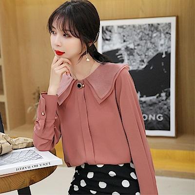DABI 韓系時尚娃娃領雪紡襯衫襯衣單品長袖上衣