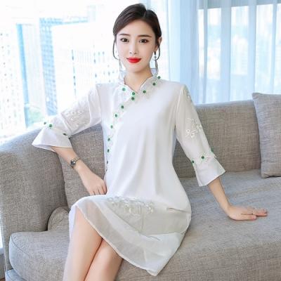 中國風改良唐裝復古柔美刺繡連衣裙S-3XL-REKO