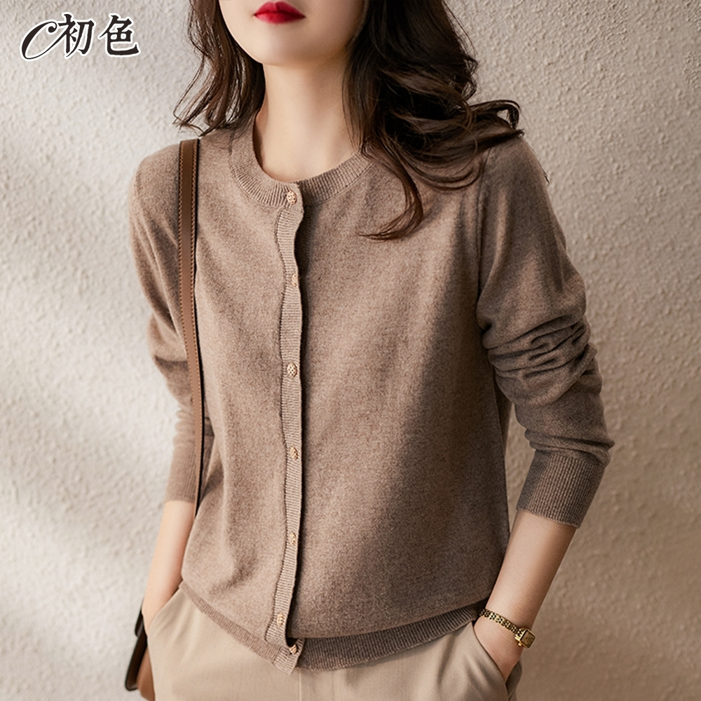 初色  簡約氣質針織開衫外套-共6色-(F可選)