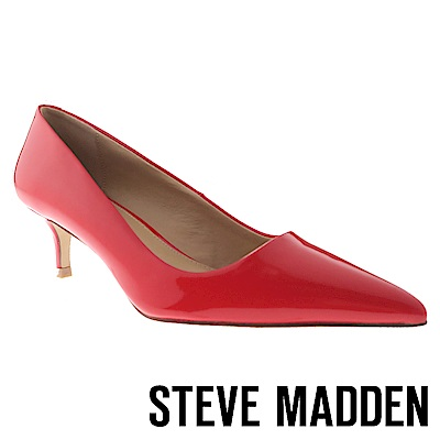 STEVE MADDEN-SABRINAH 素面尖頭中跟鞋-紅色