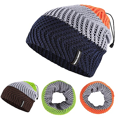 Maleroads 時尚保暖混搭風!! 針織毛帽 脖圍 雙層加厚防寒設計 運動好幫手